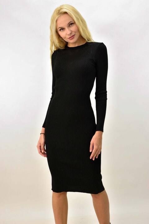 Γυναικείο φόρεμα εφαρμοστό με διάτρητες λεπτομέρειες - Μαύρο