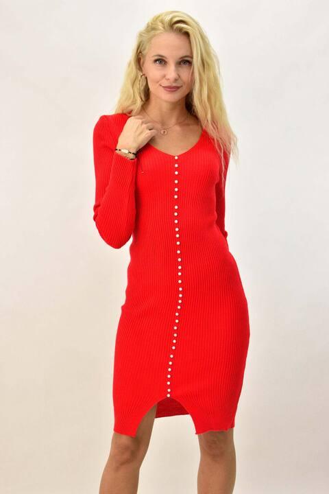 Γυναικείο φόρεμα εφαρμοστό με διακοσμητικές πέρλες - Κόκκινο