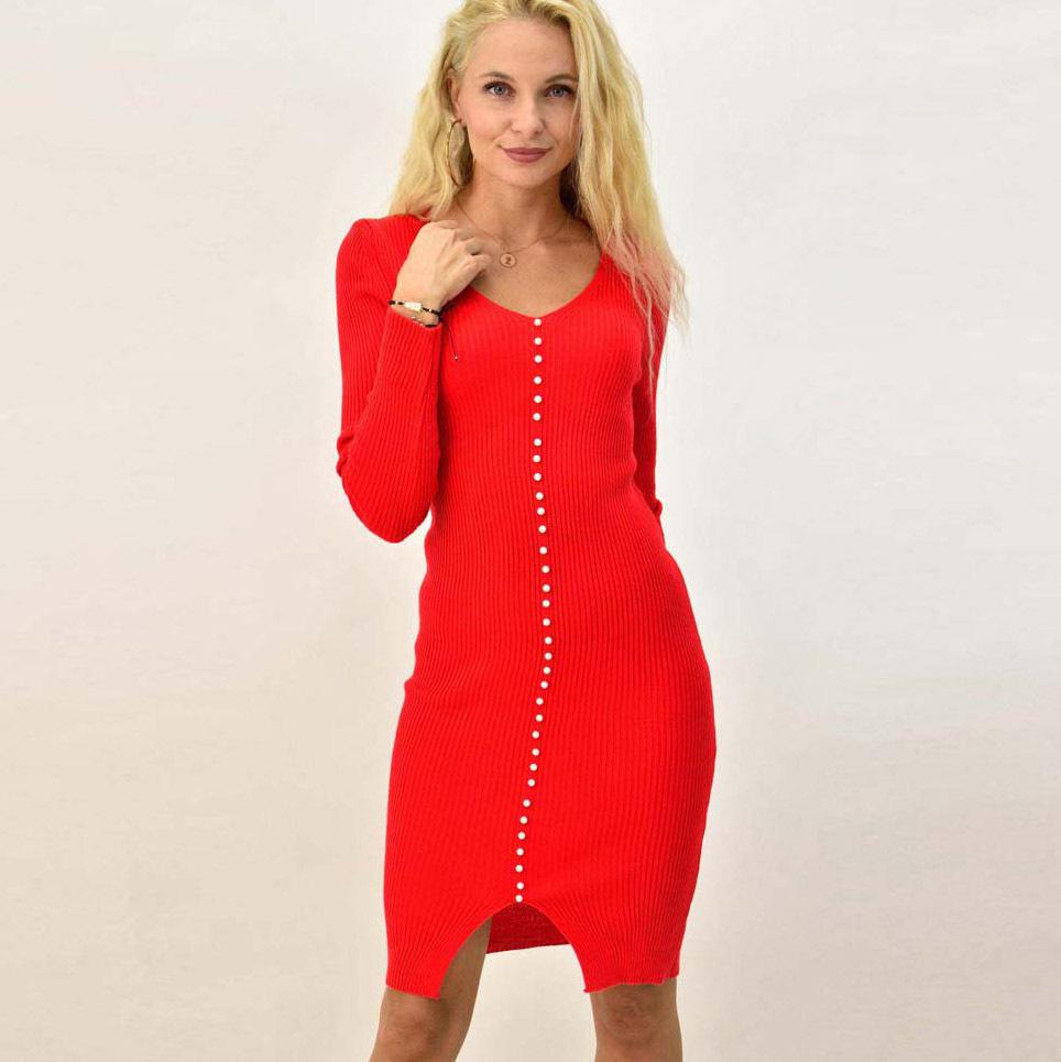 Γυναικείο φόρεμα εφαρμοστό με διακοσμητικές πέρλες