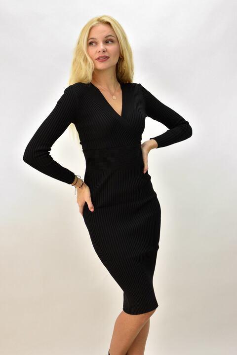 Γυναικείο φόρεμα μακρυμάνικο εφαρμοστό - Μαύρο
