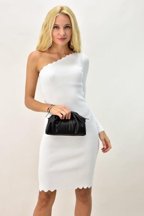 Γυναικείο φόρεμα εφαρμοστό με έναν ώμο - Λευκό
