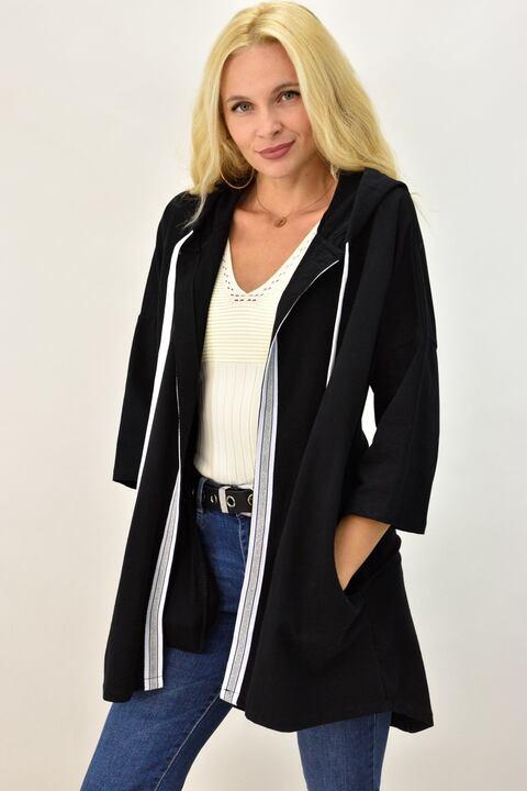 Γυναικεία ζακέτα φούτερ με σχέδιο - Μαύρο