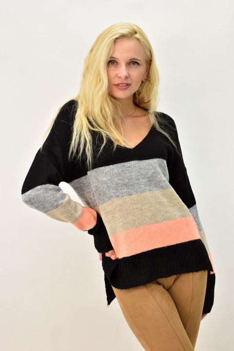 Γυναικείο πουλόβερ με V λαιμόκοψη  - Μαύρο