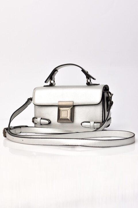 Γυναικεία τσάντα ώμου  - Ασημί