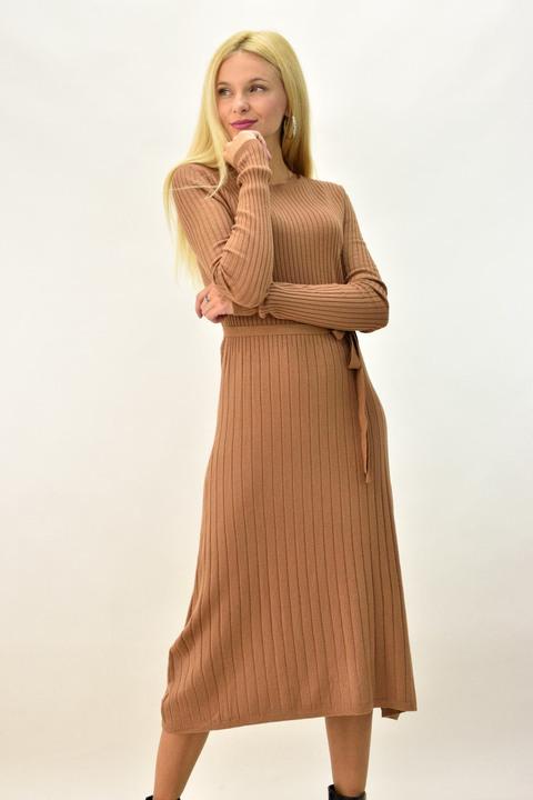 Γυναικείο φόρεμα μάξι σχέδιο τύπου ριπ με ζώνη - Μπεζ