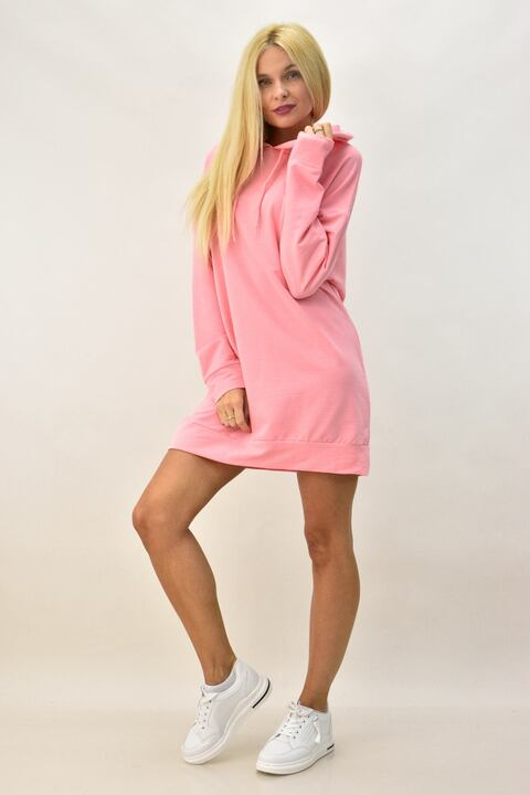 Γυναικείο φόρεμα φούτερ μονόχρωμο - Ροζ