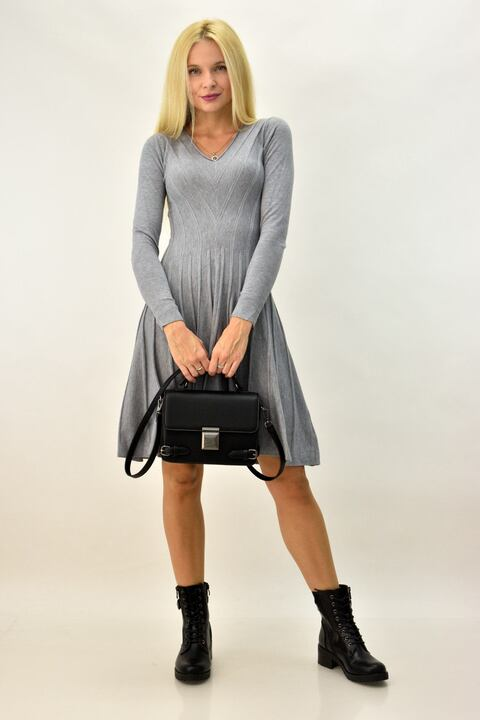 Γυναικείο φόρεμα μίντι κλος - Γκρι