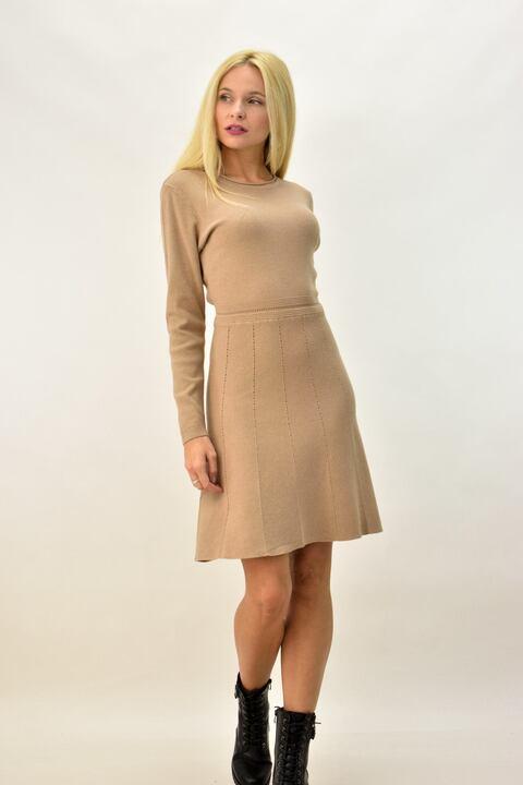 Γυναικείο φόρεμα μίντι με διάτρητο σχέδιο - Μπεζ