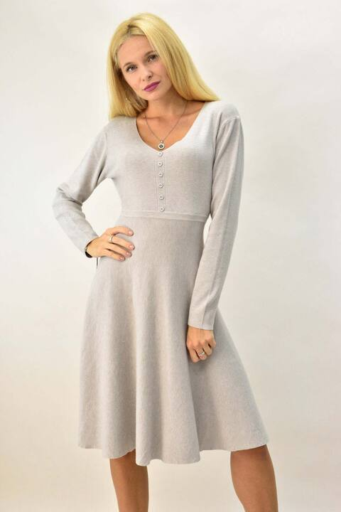 Γυναικείο φόρεμα μίντι με διακοσμητικά κουμπιά - Εκρού