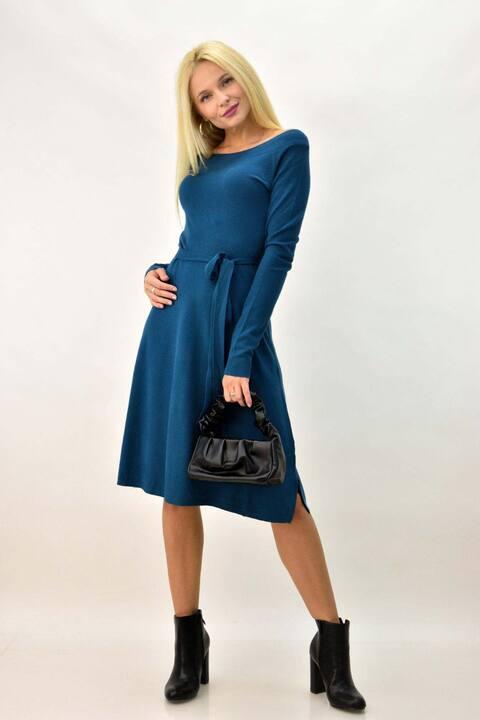 Γυναικείο φόρεμα μίντι με ζώνη - Πετρόλ
