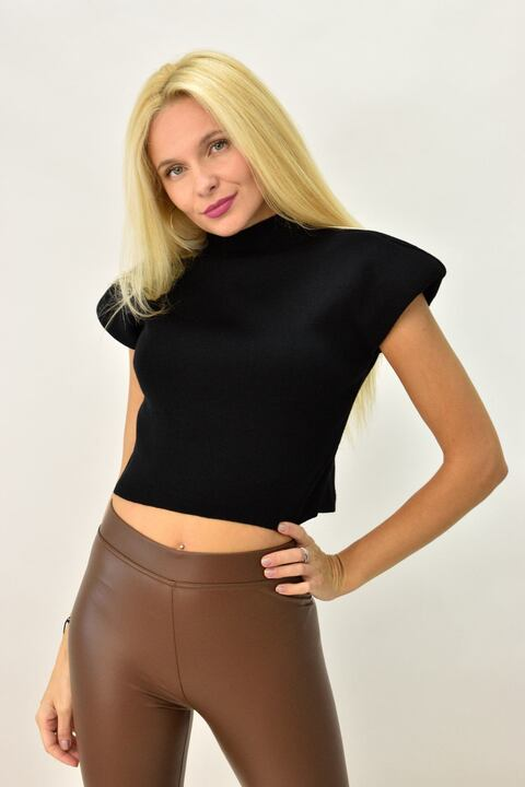 Γυναικεία μπλούζα πλεκτή με βάτες - Μαύρο
