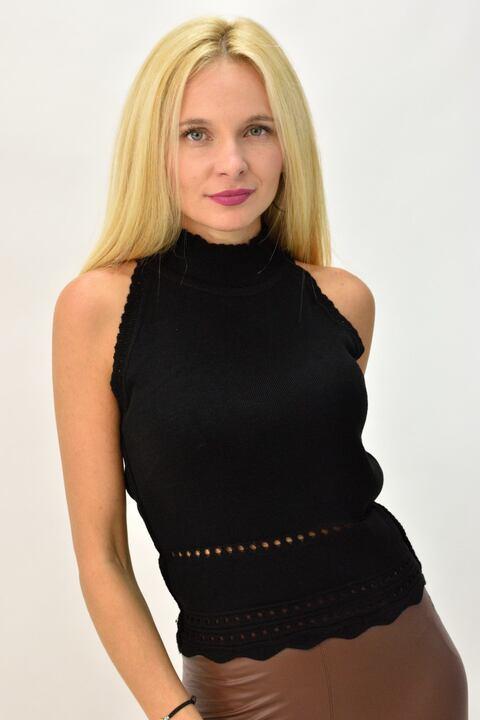 Γυναικείο πλεκτό αμάνικο ζιβάγκο με διάτρητο σχέδιο - Μαύρο