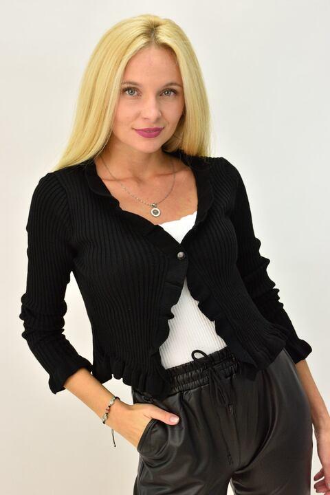 Γυναικεία ζακέτα cropped με βολάν - Μαύρο