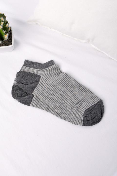 Σετ ανδρικές κάλτσες κοντές με διακριτικό σχέδιο - Γκρι