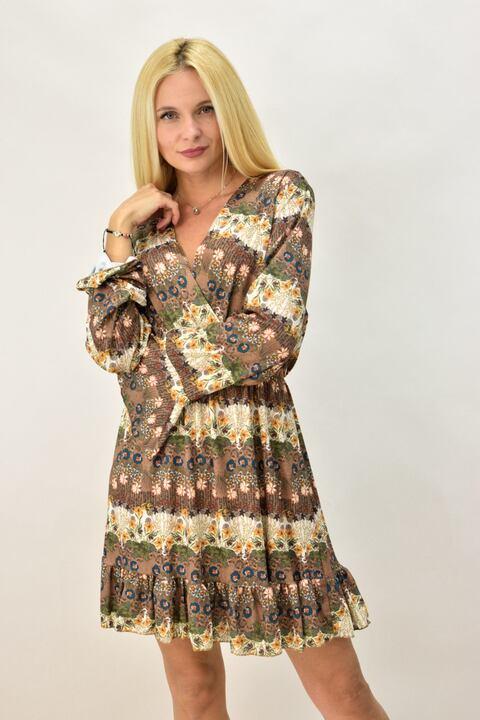 Γυναικείο κρουαζέ φλοράλ φόρεμα - Μπεζ