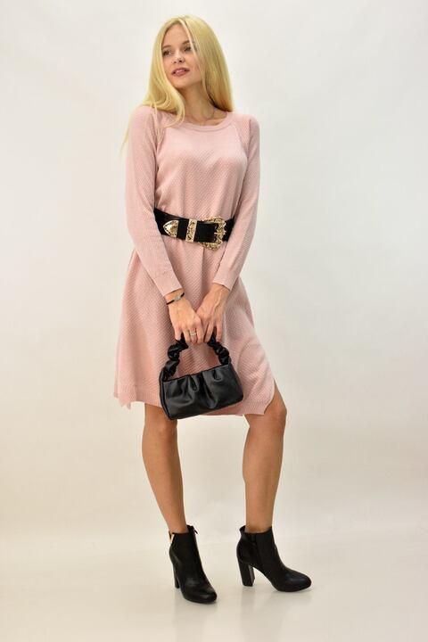 Γυναικείο μίντι φόρεμα μονόχρωμο - Απαλό Ροζ