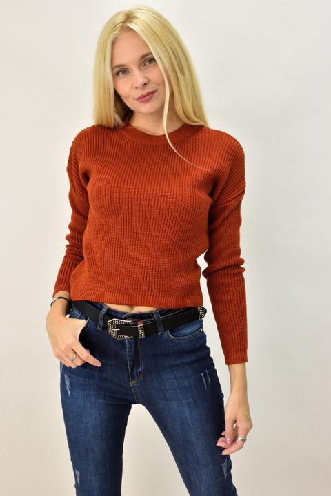 Γυναικείο πουλόβερ μονόχρωμο - Κεραμιδί