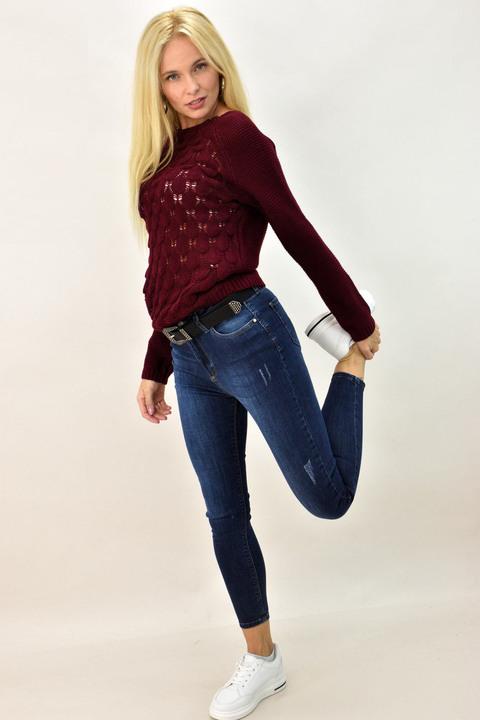 Γυναικείο πουλόβερ με διάτρητο σχέδιο - Μπορντώ