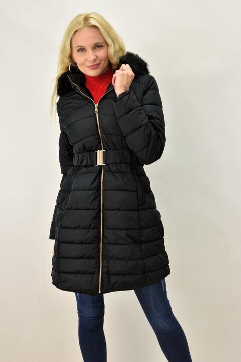 Γυναικείο μπουφάν καπιτονέ με κουκούλα - Μαύρο