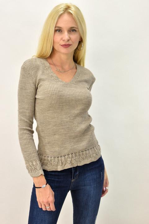 Γυναικείο πλεκτό πουλόβερ V - Μπεζ