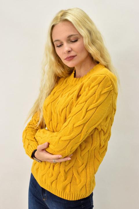 Γυναικείο πουλόβερ με πλεξούδες - Κίτρινο
