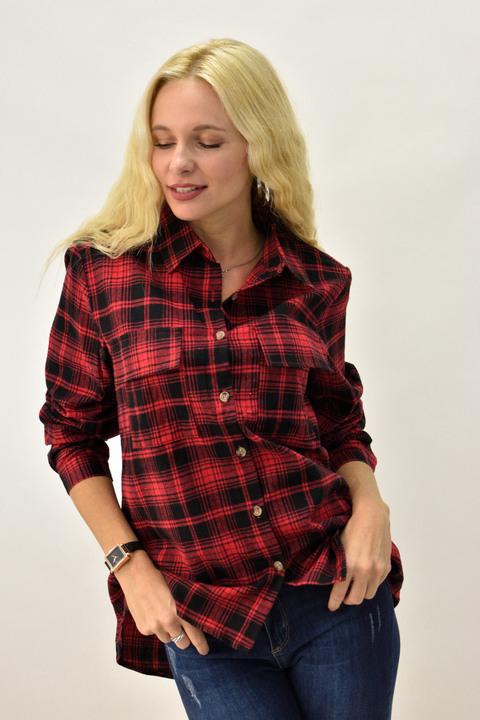 Γυναικείο πουκάμισο καρό με τσέπες - Κόκκινο