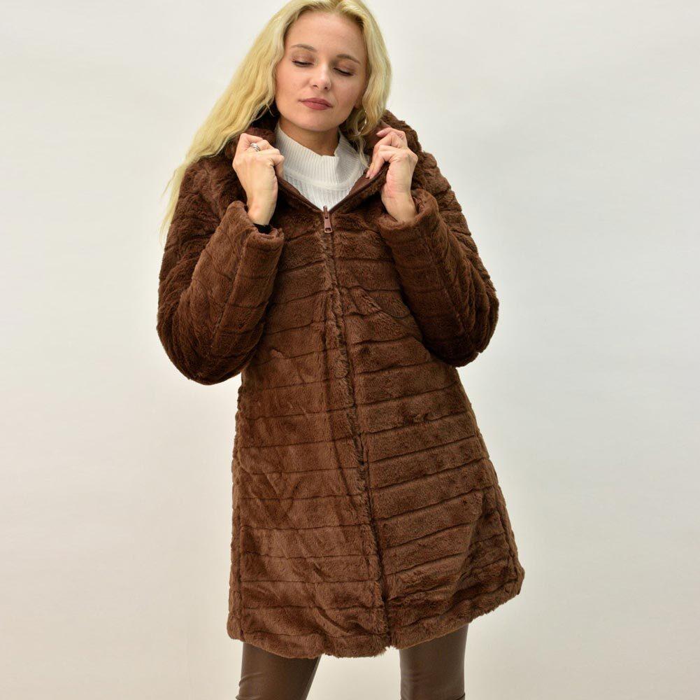 Γυναικείο μπουφάν με γούνα ντουμπλφας