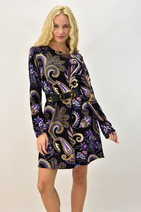 Γυναικείο φόρεμα εμπριμέ  - Μωβ