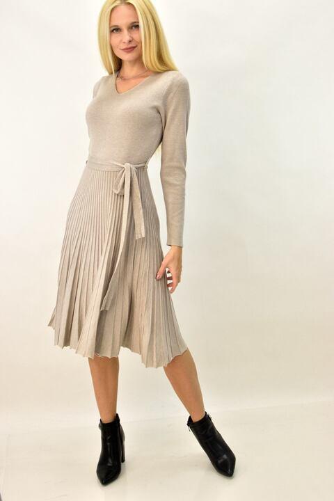 Γυναικείο φόρεμα κοντό με ζώνη - Μπεζ