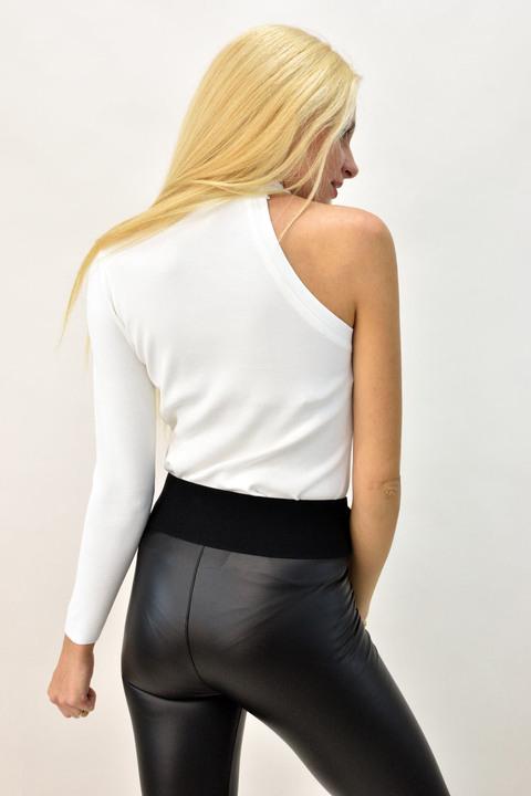 Γυναικεία μπλούζα με έναν ώμο και τσόκερ - Εκρού