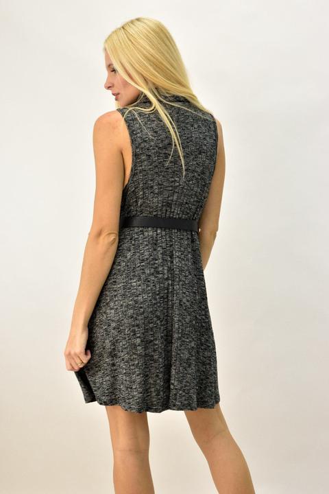 Γυναικείο φόρεμα αμάνικο με ζιβάγκο - Γκρι