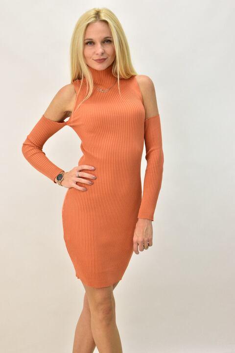 Γυναικείο φόρεμα με έξω τους ώμους - Κεραμιδί