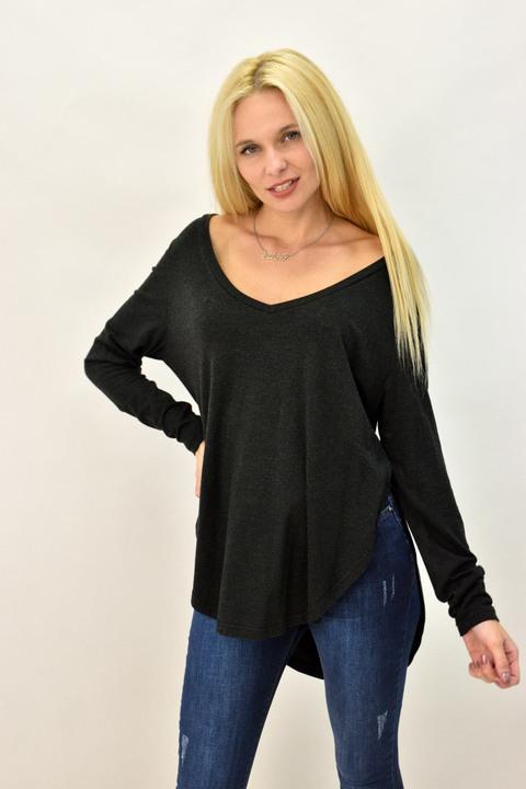 Γυναικεία μπλούζα ασύμμετρη - Ανθρακί