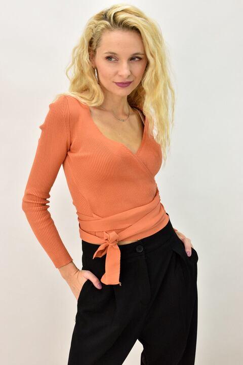 Γυναικεία μπλούζα μακρυμάνικη με δέσιμο - Πορτοκαλί