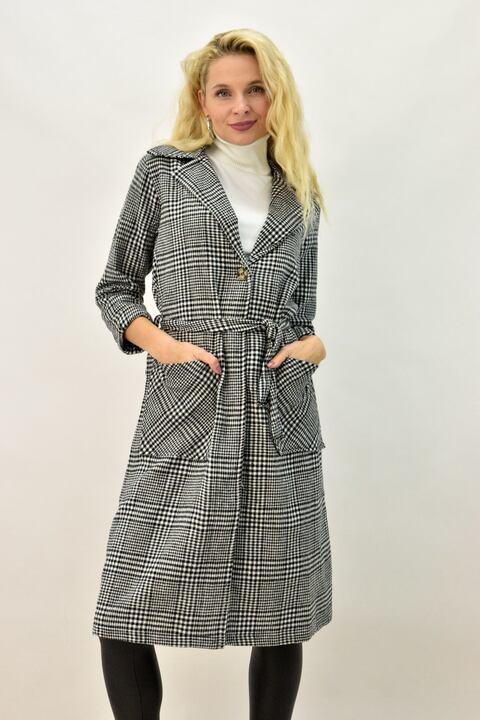 Γυναικείο παλτό καρό με γιακά και ζώνη - Μαύρο