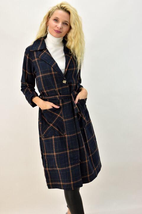 Γυναικείο παλτό καρό με γιακά και ζώνη - Μπλε Σκούρο