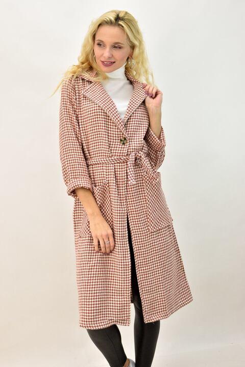 Γυναικείο παλτό καρό με γιακά και ζώνη - Μπεζ