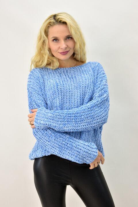 Γυναικεία μπλούζα πλεκτή σενίλ  - Γαλάζιο