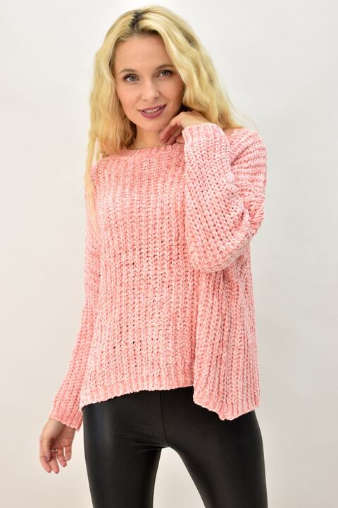 Γυναικεία μπλούζα σενίλ - Απαλό Ροζ