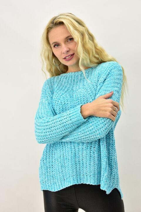 Γυναικεία μπλούζα σενίλ με διάτρητο σχέδιο  - Βεραμάν