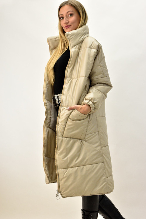 Γυναικείο μπουφάν oversized - Μπεζ