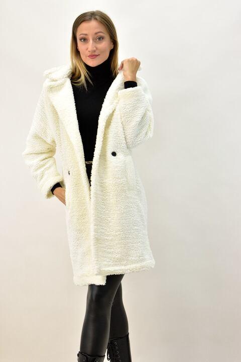 Παλτό γούνα με γιακά και κουμπια - Εκρού