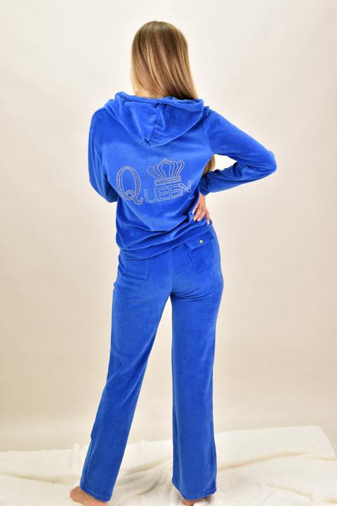 Βελουτέ φόρμα σετ μπλε ρουά στρας Queen - Μπλε Ρουά