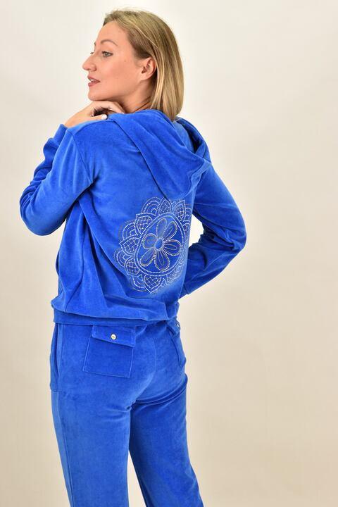 Βελουτέ φόρμα σετ μπλε ρουά στρας μάνταλ - Μπλε ρουά