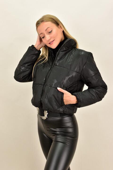 Γυναικείο μπουφάν bomber με σχέδιο - Μαύρο