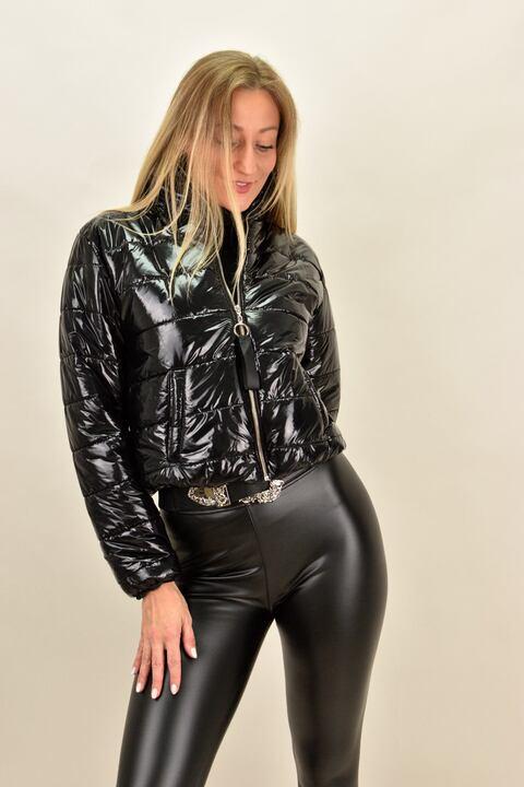 Γυναικείο μπουφάν βινύλ  bomber - Μαύρο