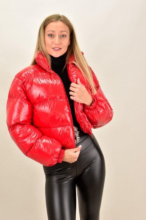 Γυναικείο μπουφάν βινύλ  bomber - Κόκκινο