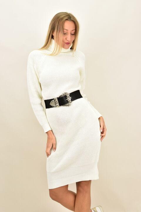 Γυναικείο φόρεμα πλεκτό μίντι  - Εκρού