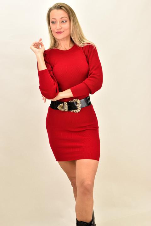 Κοντό πλεκτό φόρεμα με σούρα στα μανίκια - Κόκκινο
