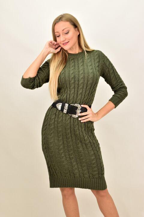 Γυναικείο μίντι πλεκτό φόρεμα - Λαδί